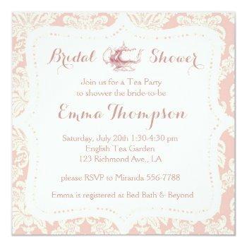 vintage french pink+cream damask bridal tea party invitation