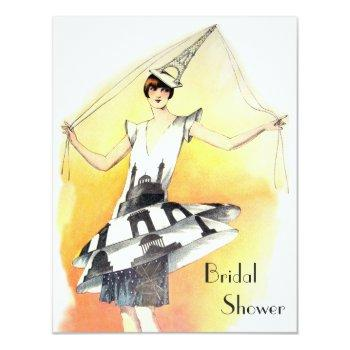 vintage girl in eiffel tower costume bridal shower invitation