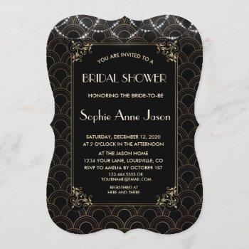 vintage gold art deco fleur-de-lis bridal shower invitation