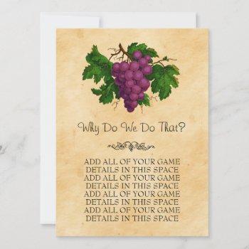 vintage grapes wedding bridal shower game cards
