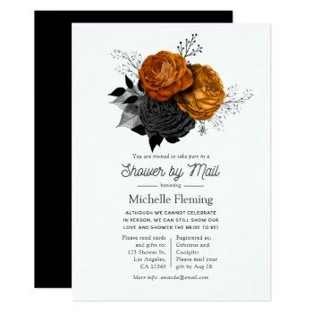 vintage halloween floral shower by mail invitation