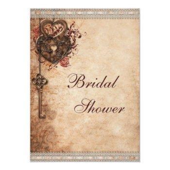 vintage hearts lock and key bridal shower invitation