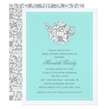vintage high tea party | aqua blue bridal shower invitation