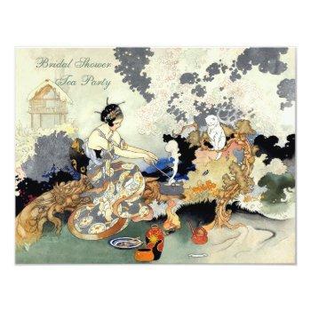 vintage japanese garden tea party bridal shower invitation