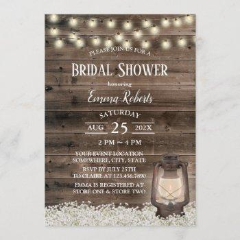 vintage lantern rustic floral barn bridal shower invitation
