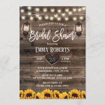 vintage lantern sunflower barn wood bridal shower invitation
