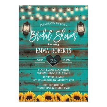 vintage lantern sunflower teal wood bridal shower invitation