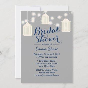 vintage lanterns grey & navy blue bridal shower invitation