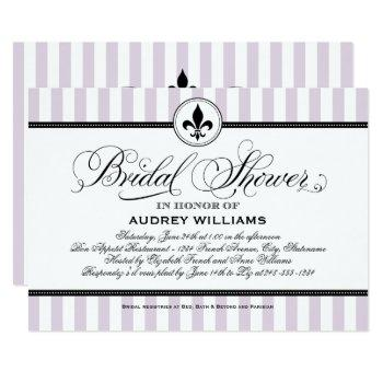 vintage lavender fleur de lis french bridal shower invitation