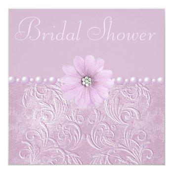 vintage lilac bridal shower bling flowers & pearls invitation