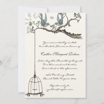 vintage love birds birdcage bridal shower  invitation