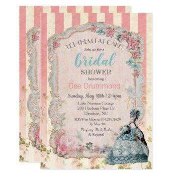 vintage marie antoinette bridal shower  invitation