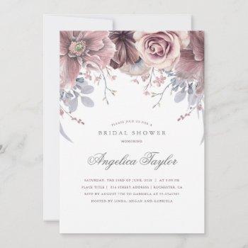 vintage mauve watercolor floral bridal shower invitation