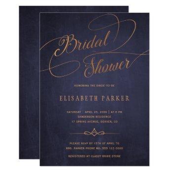 vintage navy blue gold calligraphy bridal shower invitation