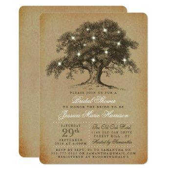 vintage old oak tree bridal shower invitation