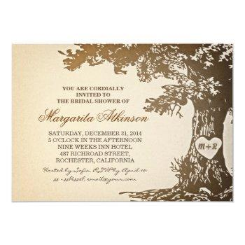vintage old oak tree bridal shower invitations