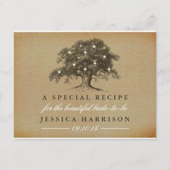 vintage old oak tree bridal shower recipe invitation postcard