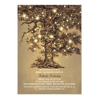 vintage old oak tree rustic bridal shower invitation