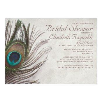 vintage peacock feathers bridal shower invitations