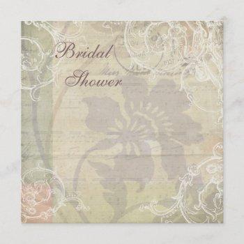 vintage pearls & lace floral collage bridal shower invitation