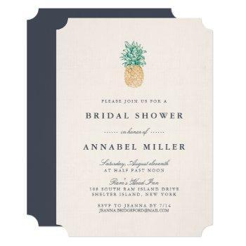 vintage pineapple bridal shower invitation