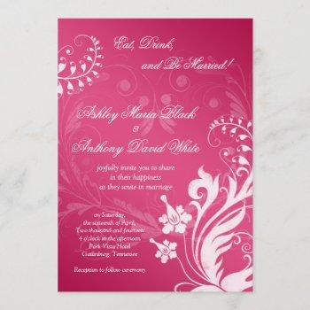 vintage pink and white floral wedding invitation