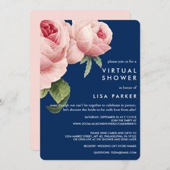 vintage pink black rose blue virtual shower invitation