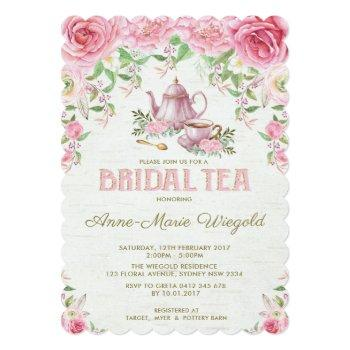 vintage pink floral bridal shower tea party invite