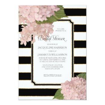 vintage pink hydrangea classy modern bridal shower invitation