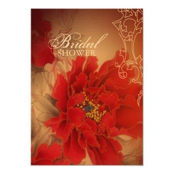 vintage red peony chinese bridal shower invitation