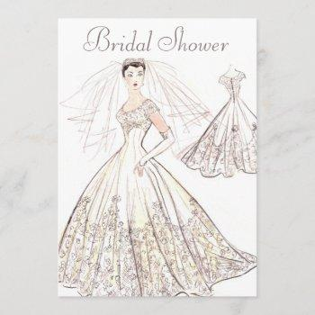 vintage retro 1950's bride and gown bridal shower invitation