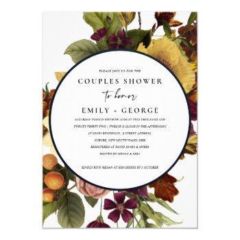 vintage retro burgundy yellow floral couple shower invitation