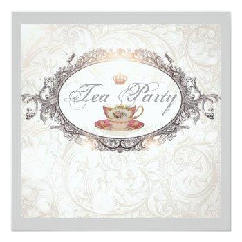vintage royal bridal shower tea party invitation