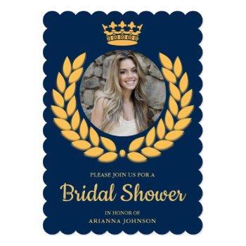 vintage royal crown princess photo bridal shower invitation
