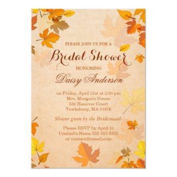 vintage rustic autumn leaves wedding bridal shower invitation