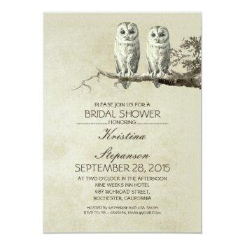 vintage rustic owl couple bridal shower invitation