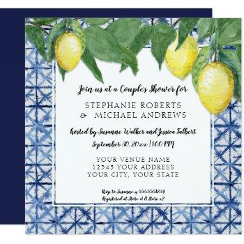 vintage shibori indigo blue w lemon couples shower invitation