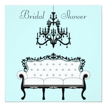 vintage sofa chandelier teal black bridal shower invitation