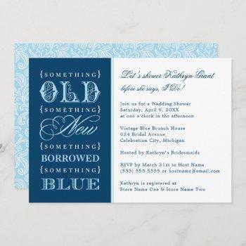 vintage something blue navy wedding bridal shower invitation