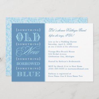 vintage something blue wedding bridal shower invitation