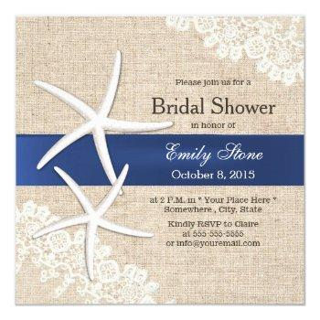 vintage starfish rustic laced burlap bridal shower invitation