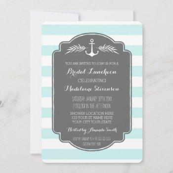 vintage stripes nautical bridal lunch invitations