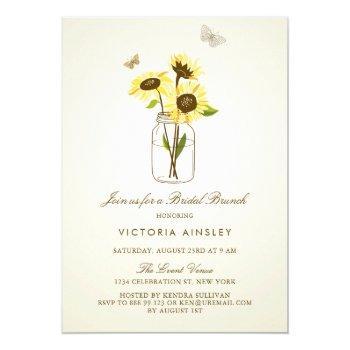 vintage sunflowers on mason jar bridal brunch invitation