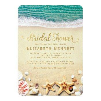 vintage tropical beach starfish bridal shower invitation