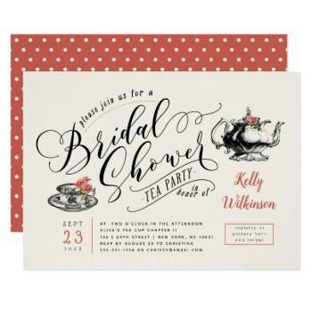 vintage typography | cream bridal shower tea party invitation