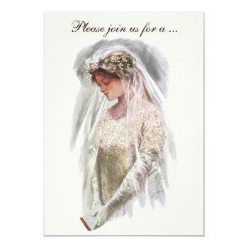 vintage victorian bride, bridal shower party invitation
