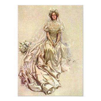 vintage victorian bride, bridal shower tea party invitation