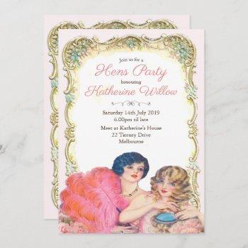 vintage victorian hens party invitation