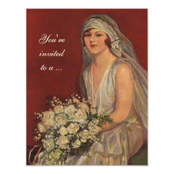 vintage wedding bride, bridal shower party invitation