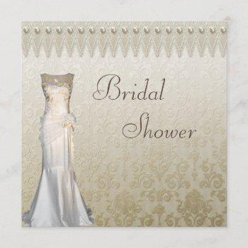 vintage wedding gown pearls lace bridal shower invitation